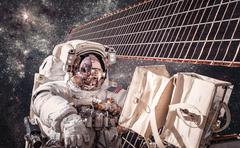 International Space Station and astronaut. - stock photo