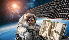 International Space Station and astronaut. Stock Photos