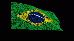 Flag of Brazil, consisting of many hearts fluttering in the wind. Stock Footage