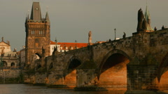 Panoramic Motion View of Charles Bridge in Prague, Czech Republic (Czechia) Stock Footage