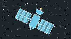 Modern Cosmos Satellite - stock illustration