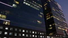Glass building in evening to night time, Timelapse Stock Footage