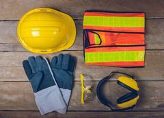 Standard construction safety equipment Stock Photos