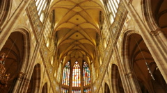 Tilting Shot of the Central Aisle of St Vitus Cathedral in Prague, Czech Stock Footage