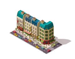 Vector isometric Paris street - stock illustration