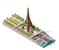 Vector isometric map of the Champ de Mars in Paris - stock illustration