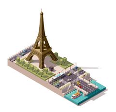 Vector isometric map of the Eiffel Tower Stock Illustration