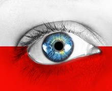 eye of the fan with flag - stock photo