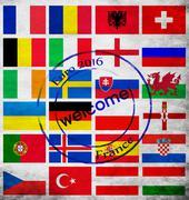 set of euro 2016 teams flags - stock photo