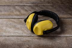 Noise reduction protective earmuffs, Standard construction safety equipment o - stock photo
