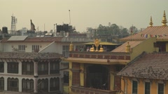 Nepal 1 Year After the Earthquake. Roofs at Bodhnath 4K Stock Footage