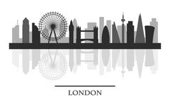 London skyline, black and white stylish silhouette Piirros