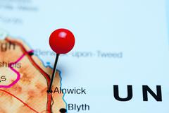 Alnwick pinned on a map of UK Stock Photos