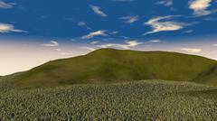 Stock Illustration of 3D illustration of green hill