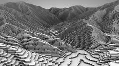 3D illustration of mountain model - stock illustration