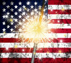 sparkler and US flag - stock illustration