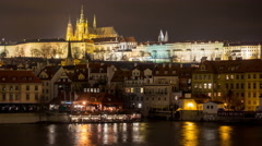 Night Timelapse in the the Old Town District (Mala Strana) of Prague, Czech Stock Footage