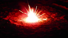 Firecracker rose, spinning on the ground and throws sparks Stock Footage
