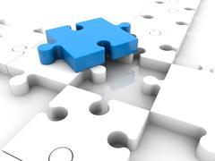Blue puzzle piece on white puzzle pieces near hole.3D illustration. Stock Illustration