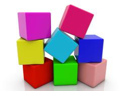 Toy cubes in heap in different colors on white - stock illustration