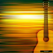 Abstract background with acoustic guitar Piirros