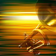 Abstract grunge background with trumpet Stock Illustration