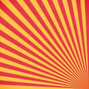 Red and yellow sunburst circle and background pattern - stock illustration