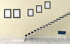 White staircase room interior in modern and minimal style - stock illustration