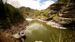PERU: Inka grass bridge Q'Eswachaka over the Apurimac river Stock Footage