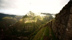 Machu Picchu, view of scenery with rain forest Stock Footage