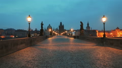 Walking the Charles Bridge at Dawn in Prague, Czech Republic (Czechia) Stock Footage
