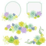 Floral banner card set. Flower invitation badge cards Stock Illustration