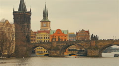 Timelapsed Approach of the Charles Bridge in Prague, Czech Republic (Czechia) Stock Footage