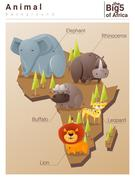 Wild African animal background Big five - stock illustration