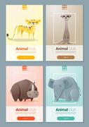 Set of Wild animal templates for web design - stock illustration