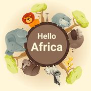 Wild African animal background - stock illustration
