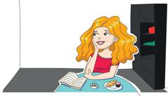Illustration of a long haired girl thinking and dreaming at room Stock Illustration