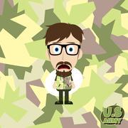 army camouflage cartoon guy - stock illustration