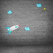 Cartoon space rocket Stock Photos