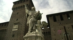 Cinematic shot of San Ambrogio statue in Castello Sforzesco castle, Milan, Italy Stock Footage