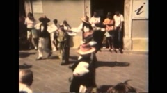 Italy 1990: Folklore Festival - Dancers in Town Square - stock footage