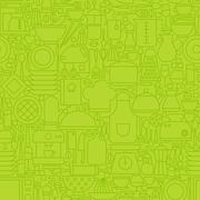 Thin Green Kitchen Appliances and Cooking Line Seamless Pattern - stock illustration