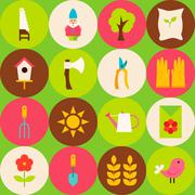 Vector Green Flat Nature Spring Seamless Pattern with Circles - stock illustration