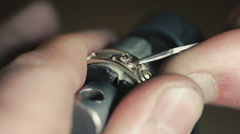 Jewelry Work. Processing of Gold Ring. Close-Up Stock Footage