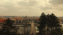 Timelapsed Panoramic View of Prague, Czech Republic (Czechia) from Letna Park Stock Footage
