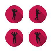Icons athletes, vector illustration. - stock illustration