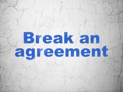 Law concept: Break An Agreement on wall background - stock illustration