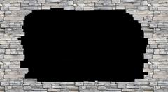 Black hole in the stone wall  isolated  background Stock Photos