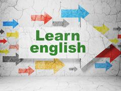 Education concept: arrow with Learn English on grunge wall background Stock Illustration