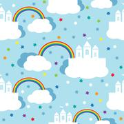 Seamless pattern with raindow castle and clouds Stock Illustration